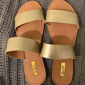 Gold Double Strap Sandals